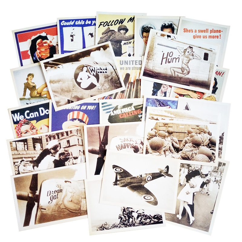32 Pcs/pack Vintage Style Post Card Movie Stars Poster Drawing Greeting Postcards Set Gift WW2 Military Theme Classic Card image