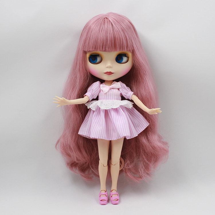 Free shipping Nude Blyth doll diy face pink bangs long hair AB blyth dolls with joint body bjd doll 1/6