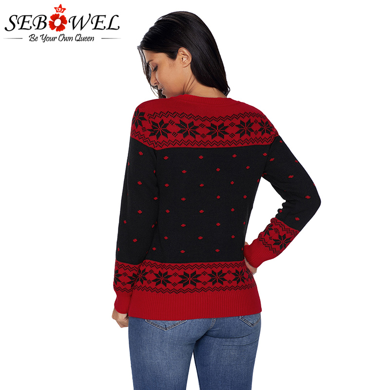 sebowel 2017 new christmas fashion pullovers sweater women plus size long sleeves o neck reindeer sweater thick tops s xxl in pullovers from womens
