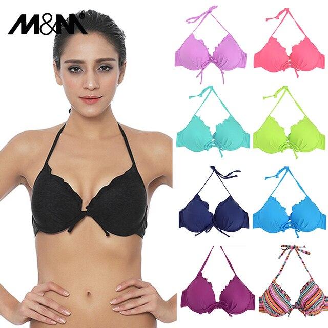 45bd0cc355 M&M 2018 Halter Solid Girls Small Bikini Top Push Up Swimwear Bra Summer  Beach Swimsuit Sexy Print Swim Bra Swimsuit BiquiniT612