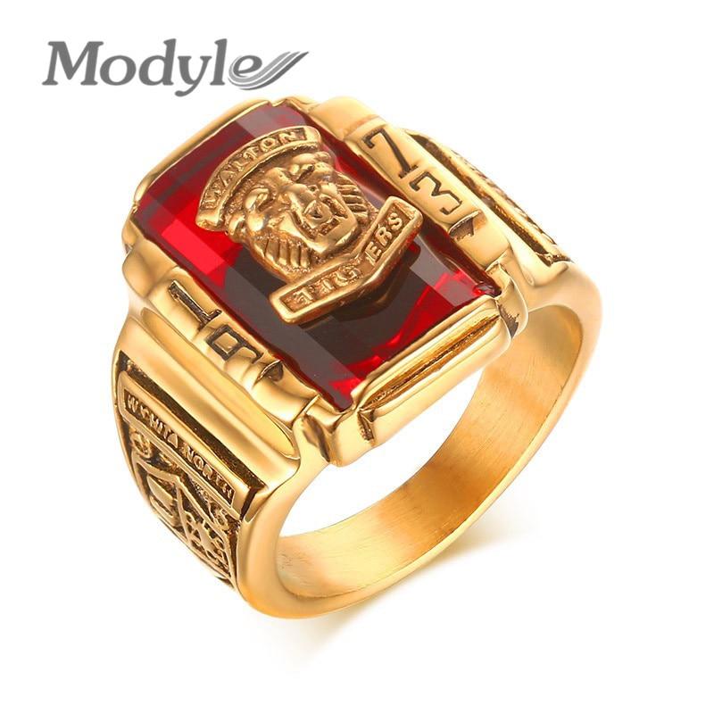 Prix pour Modyle New Big Red Stone Anneaux pour Hommes Bijoux Cool Or-Couleur Grand Anneaux Bijoux Nouveau Parti Gothique Mâle anneaux