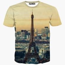 Europe Fashion t-shirt men/women 3d t shirt summer tops tees print City Paris Eiffel Towers short sleeve tshirt