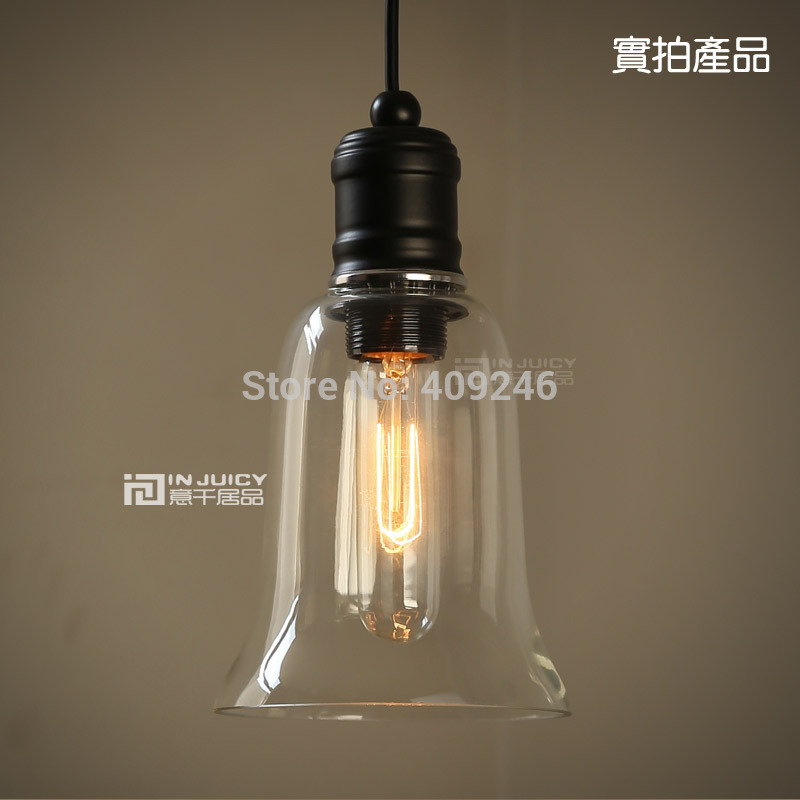 S size Vintage Industrial Glass Bell American Country Droplight Edison Ceiling Light For Cafe Bar Coffee Shop Hall Club Balcony 32cm vintage iron pendant light metal edison 3 light lighting fixture droplight cafe bar coffee shop hall store club