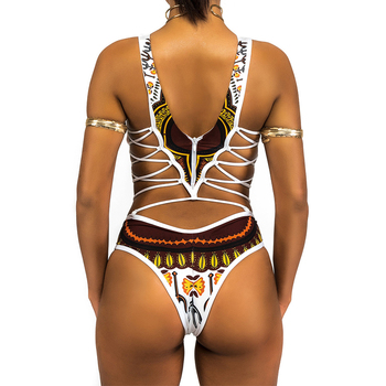 HELLO BEACH 2018 New One Piece Swimsuit Bandage bodysuit African Printed Swimwear Female High Cut Monokini Sexy High Neck 1