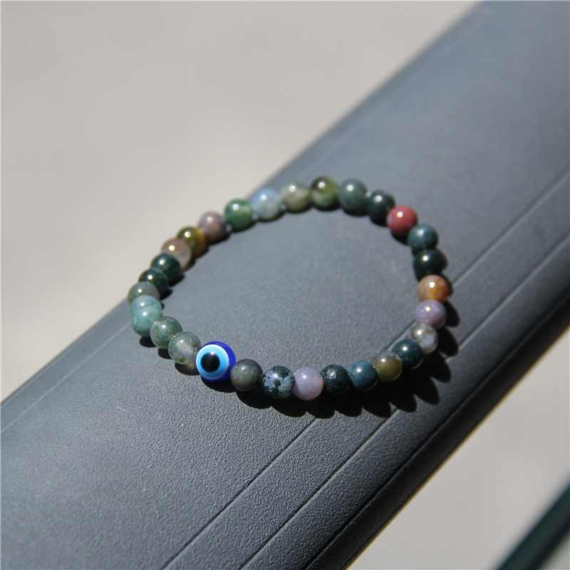 Natural Black Obsidian Round Beads Couple Bracelets Fashion Blue Evil Eyes Stretch Bracelet For Woman & Man High Quality Jewelry