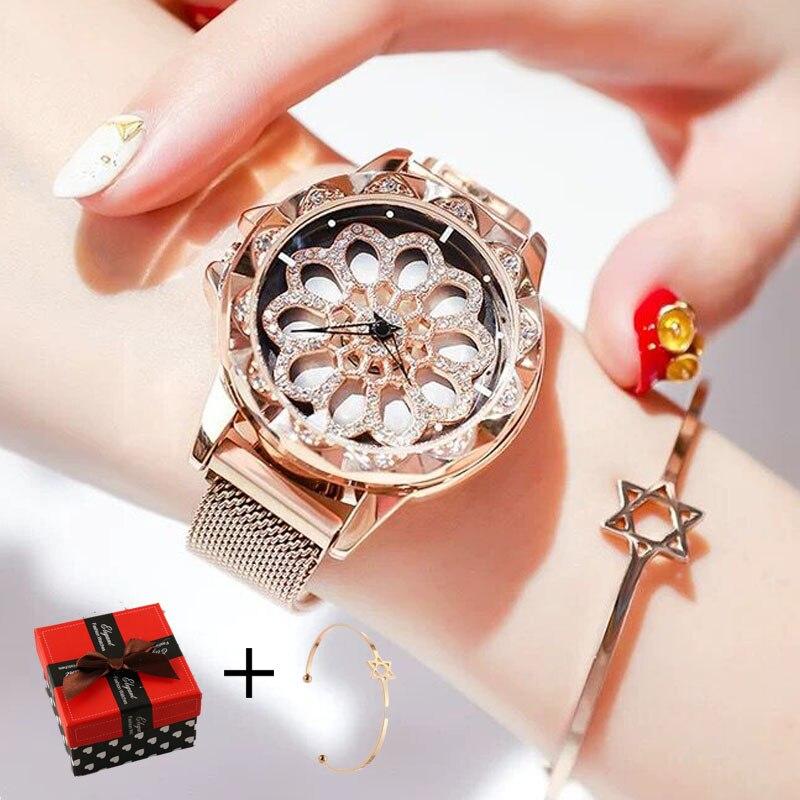 Dropshipping Women Watches Luxury Brand Rotate Flower cystal quartz wrist watch for women bracelet gold dress ladies watch clock