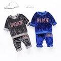 Дети Мальчики весна 2017 детская одежда бархат двух частей Корейских baby boom детей свитер костюм