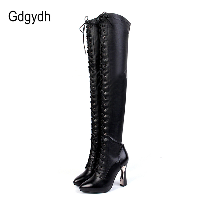 Gdgydh 2018 Fashion Genuine Leather Over The Knee Boots Winter Women High Heels Winter Shoes Thigh High Boots Lacing Promotion