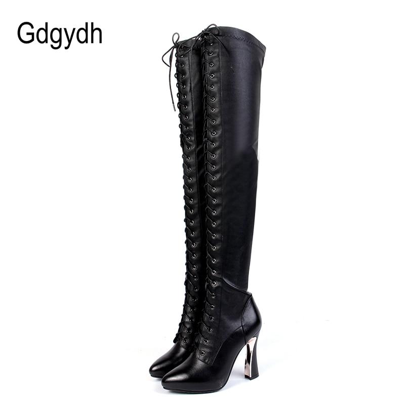 Ayakk.'ten Diz Üstü Çizmeler'de Gdgydh 2018 Moda Hakiki Deri Diz Çizmeler Üzerinde Kış Kadın Yüksek Topuklu Kış Ayakkabı Uyluk Yüksek Çizmeler Bağlama Promosy'da  Grup 1