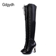 Gdgydh Fashion Genuine Leather Over The Knee Boots Winter Women High Heels Winter Shoes Thigh High Boots Lacing Pointed Toe