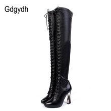 Gdgydh אופנה אמיתי עור מעל הברך מגפי חורף נשים גבוהה עקבים חורף נעלי ירך גבוהה מגפי לשרוך הבוהן מחודדת