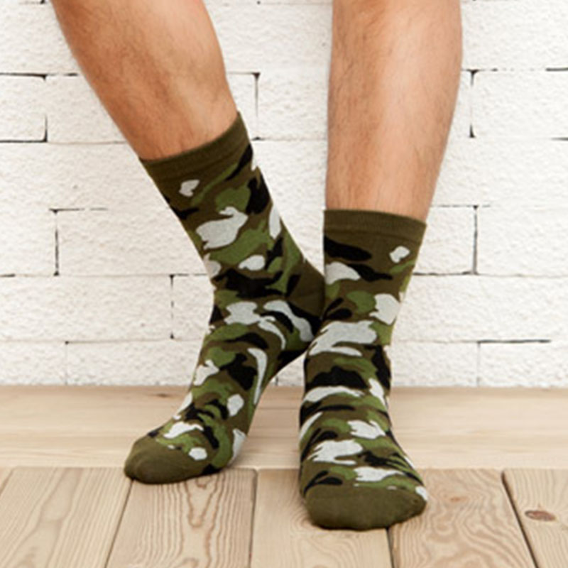 [COCOTEKK]5 Colors Korean New Men Military   Socks   Graffiti Green Mens Cotton   Socks   Jungle Style Winter Classic Camouflage   Socks