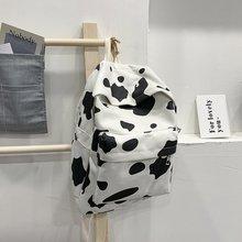 Estampado de vaca Mochila para estudiantes adolescentes chicas Vintage Casual Mochila femenina mochilas para portátiles bolsa de viaje