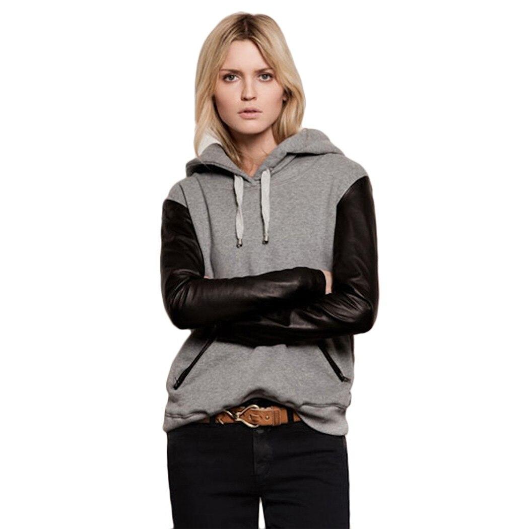 2016 Femmes élégantes décontracté Sweat pull à capuche Patchwork Manches Longues vêtements d'extérieur manteau
