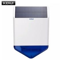 KERUI 무선 433mhz 야외 큰 스트로브 태양 사이렌 G19 G18 W2 홈 보안 GSM 경보 시스템 깜박임 응답