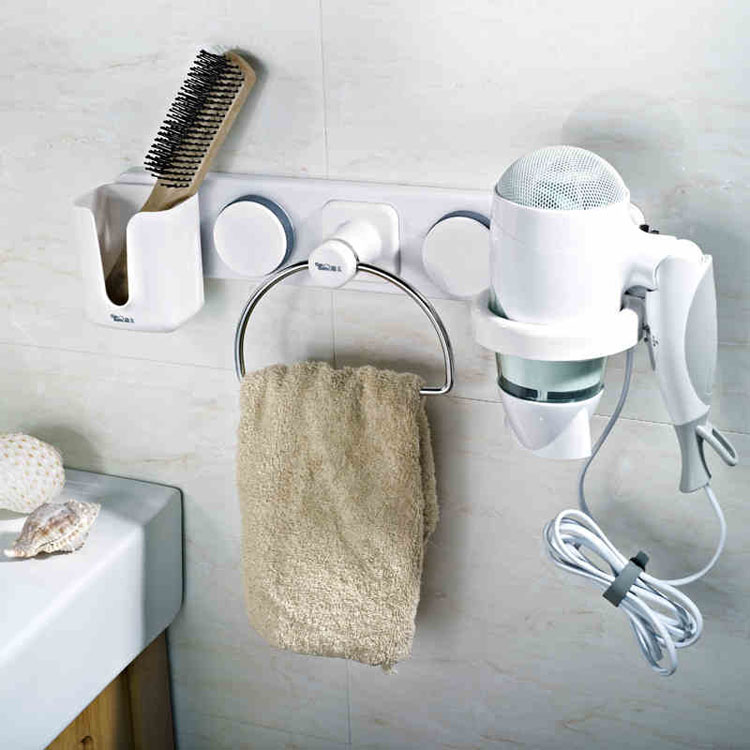 1pcs Multifunctional Combination Shelf Bathroom Wall Hair Dryer Rack Towel Drier Holder