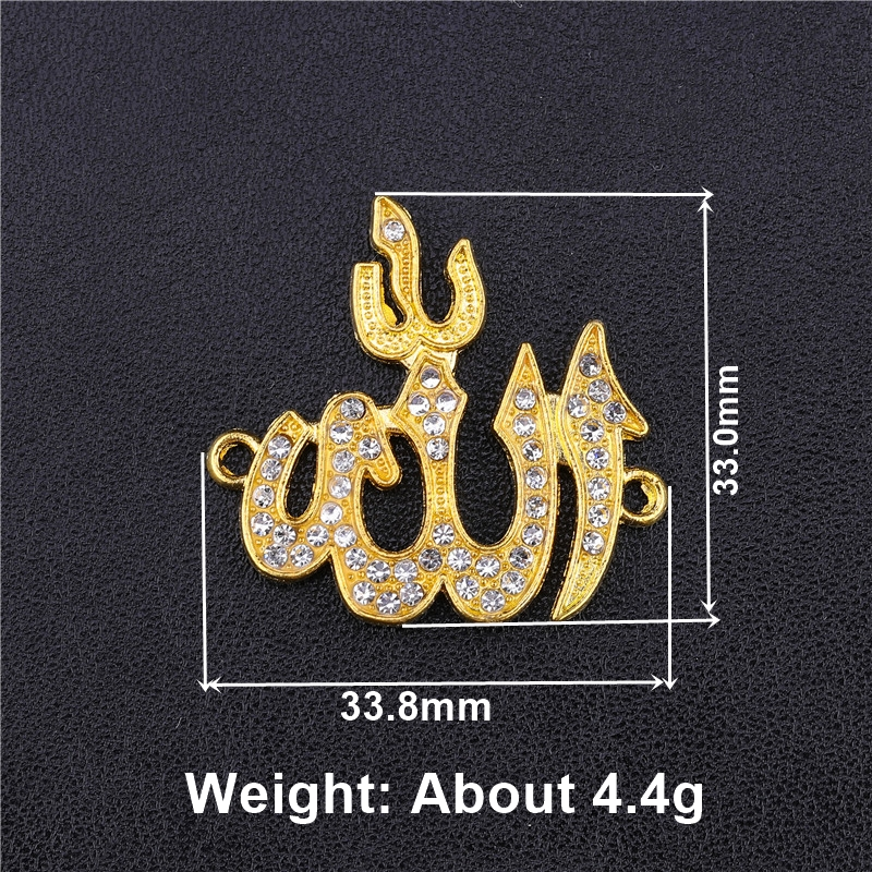 Image 5 - Juya 5pcs Wholesale Islamic Charms Rhinestones Gold Silver  Crescent Allah Connectors Accessories For Muslim Qamis Jewelry  MakingCharms
