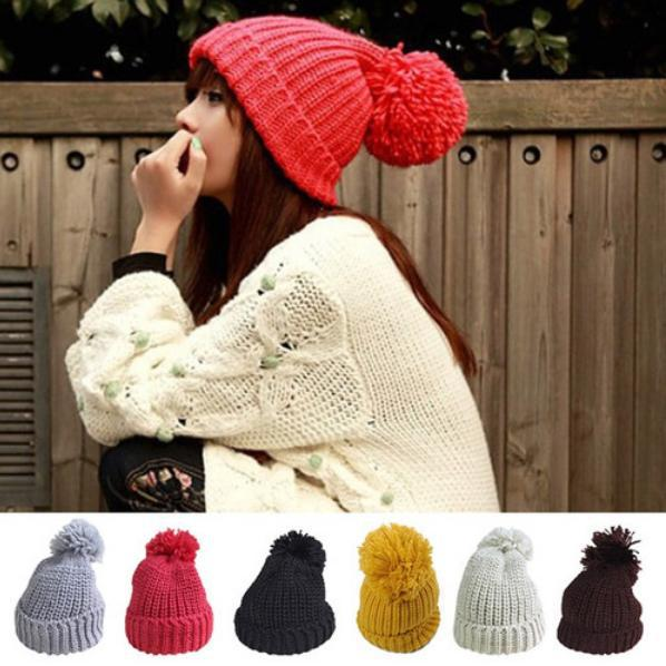 Keeping Warm New Women Super Large Wool Ball Button Winter Hat Knitting Wool Caps Beanie Wholesale the new children s cubs hat qiu dong with cartoon animals knitting wool cap and pile