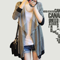 2015 Brand New Women Cardigan Long Sleeve Striped Slim Coats Spring Autumn Female Casual Overcoat Fashion Style Cape Outerwear