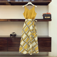 2018 Holiday Wind Bohe Skirts Suit Women Summer Sexy Suspender Vest Top + High Waist Split Fork Printing Skirt Two piece Sets