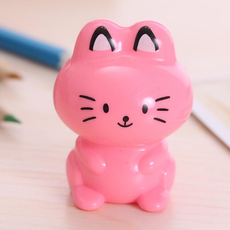 Cute Cartoon Cat Plastic School Pencil Sharpener For Kids Stationery Gift Supply