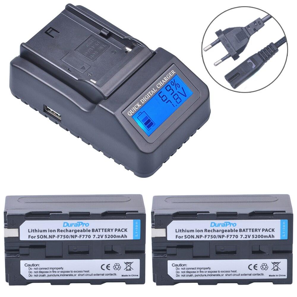 2pc 5200mAH NP-F750 NP-F770 Li-ion Battery + LCD Quick Charger for Sony NP F970 F960 ccd-tr917 ccd-tr940 ccd-trv101 ccd-trv215 np f960 f970 6600mah battery for np f930 f950 f330 f550 f570 f750 f770 sony camera