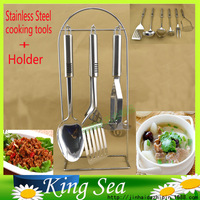 6pcs Stainless Steel Kitchen Cooking Utensil Turner Spoon Ladle Fork Masher Spaghetti Spoon Set With Storage