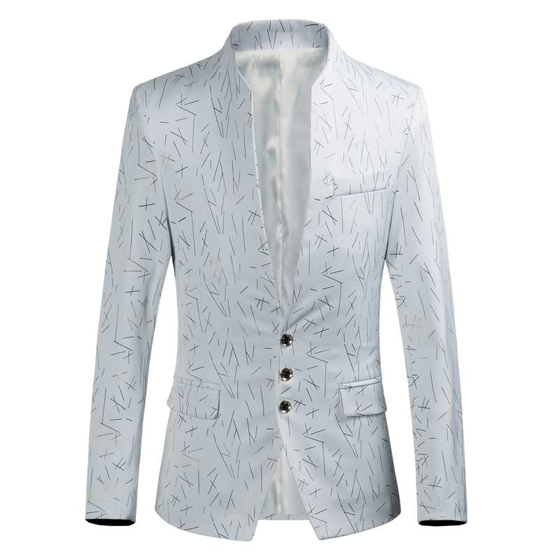 Пиджак мужской модный мужской блейзер с принтом Модный воротник стойка три однобортный тонкий пиджак большой размер S-6XL