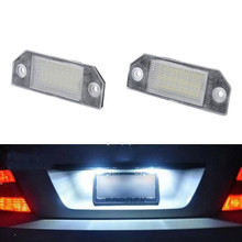 New 2Pcs License Plate Lights 14V LED White Lamps For Ford Focus MK2 2003-2008 Ford C-MAX mk1 2003-2010 Auto Accessories