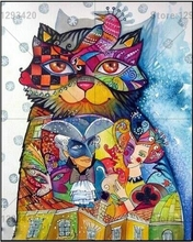 Full Drill Square Rhinestones Pasted 5d Diy Diamond Painting Cartoon Colorful cat Handcraft Accessories Cross Stitch Embroidery