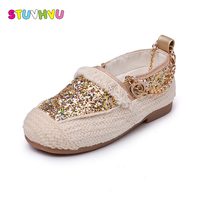 Retro Girls Canvas Shoes Spring Autumn Children Sequins Anklet Princess Shoes Kids Tassels Casual Knitted School