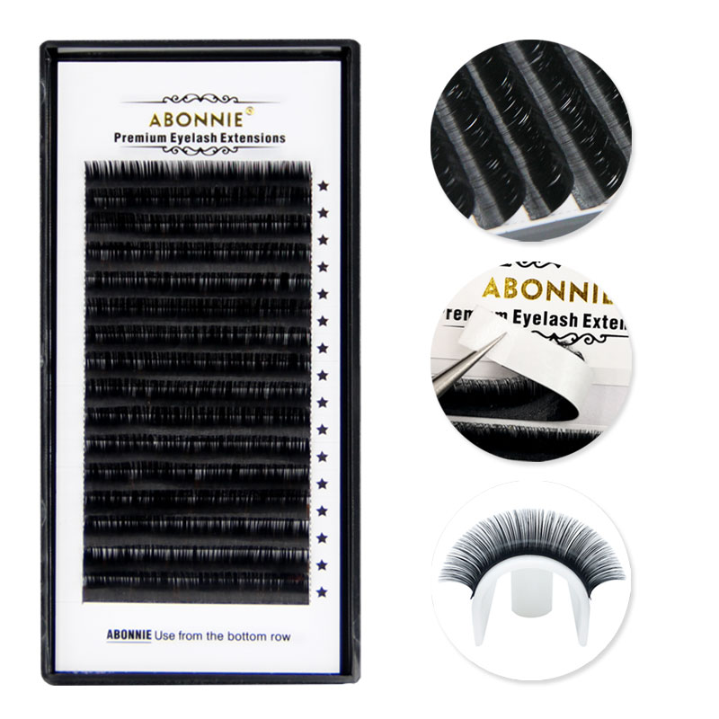 ABONNIE,16Rows,Faux mink individual eyelash extension, cilia lashes extension for professionals,soft mink eyelash extension