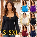 5XL New 2017 Women Clothing V Neck Autumn Winter Women Lace T-shirt Bodycon Long Sleeve Sexy Casual off shoulder Tops Plus Size