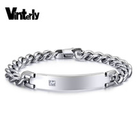 Women Stainless Steel ID Bracelets Bangles Statement Jewelry Cubic Zirconia Bracelet For Female Fashion Jewelry Accessories