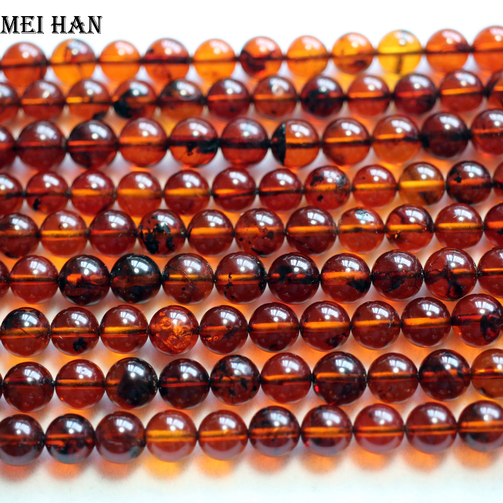 Meihan Free shipping (45 beads/set/11.5g) natural 7.5 8mm The Baltic sea Blood Amber round loose strand beads for jewelry making-in Beads from Jewelry & Accessories    2