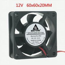 Gdstime 6cm 60x60x20mm Ball Bearing 6020 60mm 12V 2Pin DC Cooling Cooler Fan стоимость