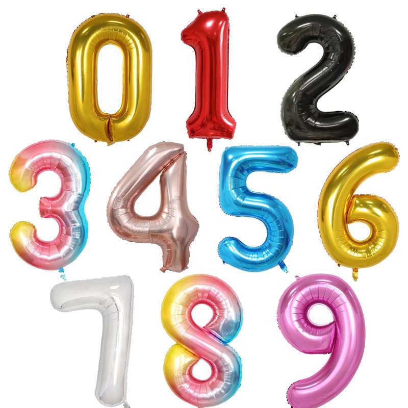 30 40 بوصة 0-9 روز الذهب الأسود الوردي عدد بالونات عيد ميلاد سعيد حزب بالون للديكور الشكل الهواء الهيليوم Globos الطفل دش