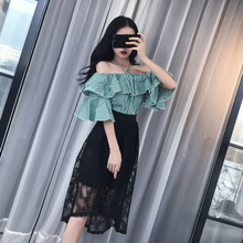 Summer 2017 Women Elegant Clothing Sets Ruffle Off Shoulder Top Blouse + Black Lace Skirt Work Dress Set  Ladies Dresses