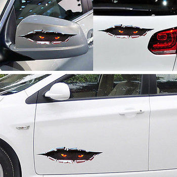 Funny Peeking Eye Decor Vinyl Sticker Car Body Window SUV Door Helmet 3D Decals image