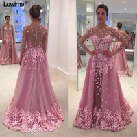 Detachable Train Muslim Long Sleeves Evening Dresses Scoop Neck With Appliques Flower Illusion Tulle Prom Gowns Party Dress