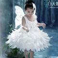 Asas da pena do anjo Vestido de Princesa Tutu Vestido Da Menina de Vestido de Noiva