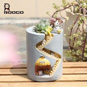 Image 3 - Roogo Resin Home Garden Flower Pot Succulent Planter Pots Outdoor Flowerpot For Balcony Decoration Home Desktop Pen Holder Decor