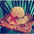 2016 Продажа Новый Взрослый Шляпа Солнца Гирлянда Открытый Уф Visorstraw Пляж Solid Cap Летние Шляпы Для Женщины Chapeau Femme Платье с Широкими Полями,