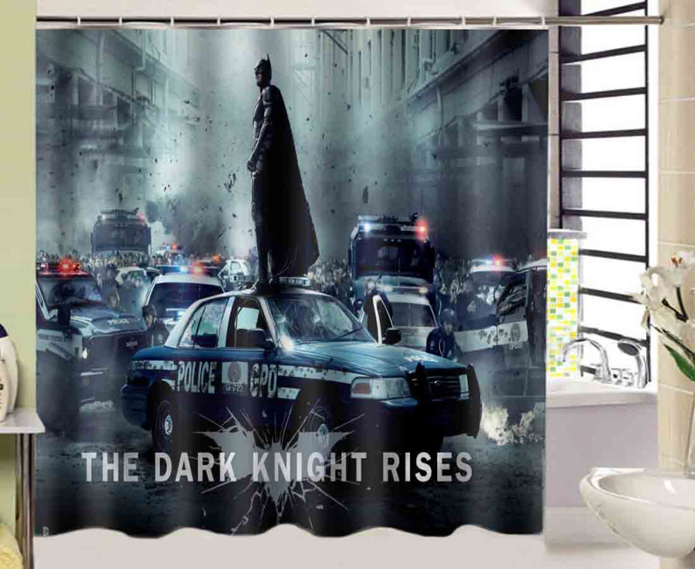 Dark knight shower curtain - Hot Sale European Classic 180x180cm Waterproof Bathroom Curtain Batman The Dark Knight Rise Car Shower Curtain