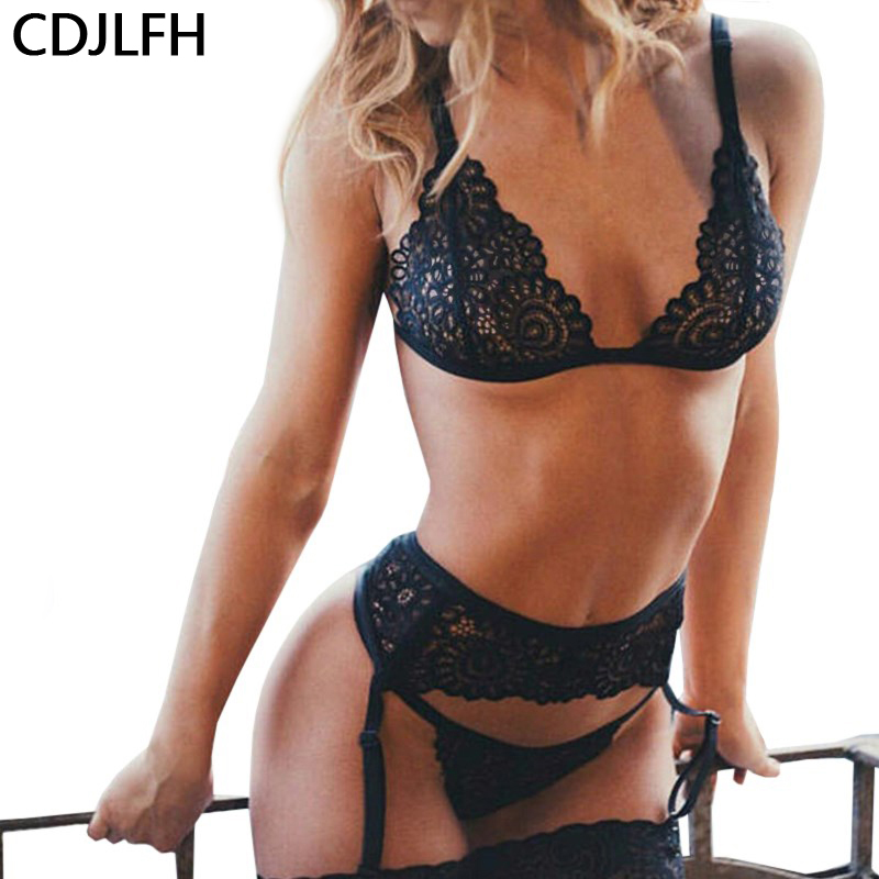 New Ladies Sexy Lingerie Set Lace Open Crotch Bra Sling G-String Women Bra Sets Sexy Underwear Outfit Erotic Lingerie Sex Shop