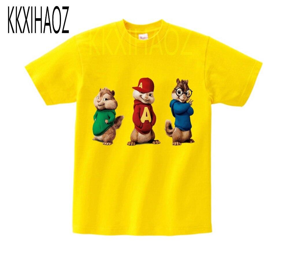 Alvin and the Chipmunks Alvin Print t-shirt kids tops Tee Comfortable t shirt boy girl Casual cartoon Short Sleeve TEE camiseta 4