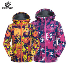 Kid jacket Outdoor camouflage softshell jacket waterproof windproof keep warm children ski jacket Winter outdoor soft shell coat