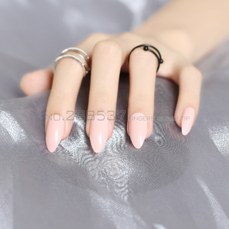 New Shrimp powder full cover Fake short stiletto nails Pink 24pcs ...