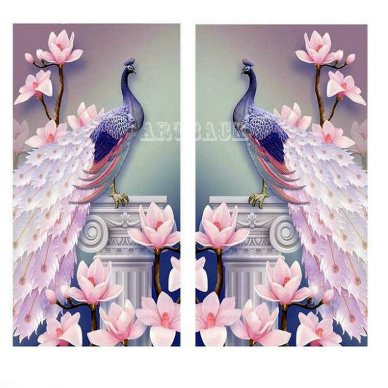 5d diy diamond painting peacock flower pattern for living room decoration full square drill animal 3d art diamond embroidery in Diamond Painting Cross Stitch from Home Garden