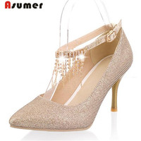 Asumer Solid Pointed Toe Buckle Single Shoes Party Wedding Elegant Fashion Women Pumps Big Size 30